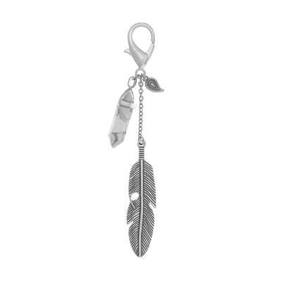 Gemstone Feather Key Fob in silver finish with Howlite gemstone | Modern boho jewelry | Criscara