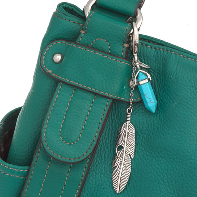 Gemstone Feather Key Fob in silver finish with Turquoise gemstone | Modern boho jewelry | Criscara
