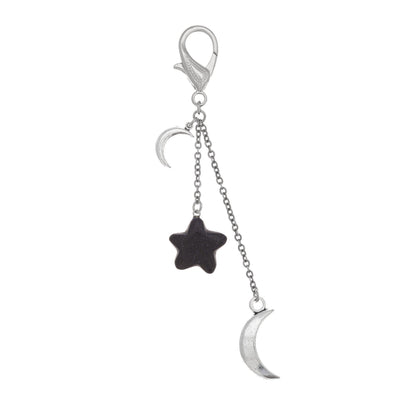 Star And Moon Gemstone Bag Fob in silver finish with Blue Goldstone gemstone | Modern boho jewelry | Criscara