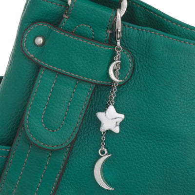 Star And Moon Gemstone Bag Fob in silver plated finish with Howlite gemstone | Modern boho jewelry | Criscara
