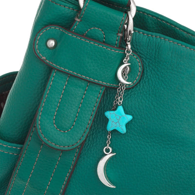 Star And Moon Gemstone Bag Fob in silver plated finish with Turquoise gemstone | Modern boho jewelry | Criscara