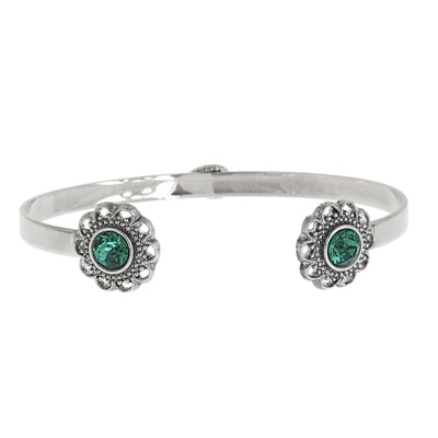 Swarovski Crystal Open Cuff in silver finish with Emerald crystal | Modern boho jewelry | Criscara