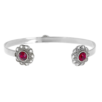 Swarovski Crystal Open Cuff in silver finish with Ruby Swarovski crystal | Modern boho jewelry | Criscara