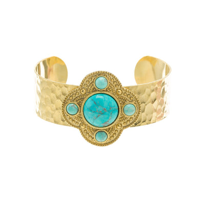Gemstone Hammered Cuff in 14k gold finish with Turquoise gemstone | Modern boho jewelry | Criscara