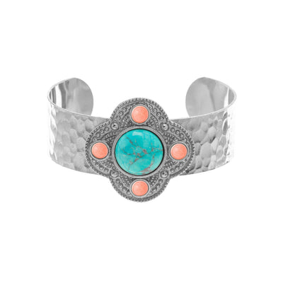 Gemstone Hammered Cuff in silver finish with Turquoise & Coral stone | Modern boho jewelry | Criscara