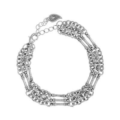 Layered Chain Bracelet in silver finish | Modern boho jewelry | Criscara