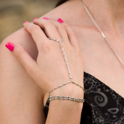 Multi-Strand Hand Chain in silver finish | Modern boho jewelry | Criscara