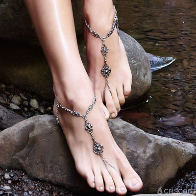 Art Deco Foot Jewelry in silver finish with Hematite Swarovski crystal sold as pair | Modern boho jewelry | Criscara
