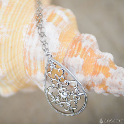 TEGAN Long Teardrop Necklace - Silver | Modern boho jewelry | Criscara