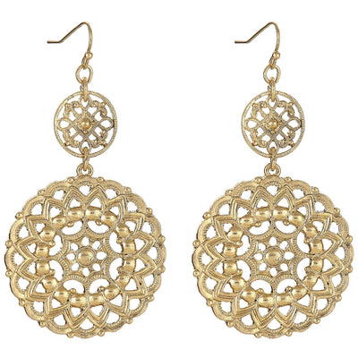 Statement Filigree Earrings in 14k gold finish | Modern boho jewelry | Criscara