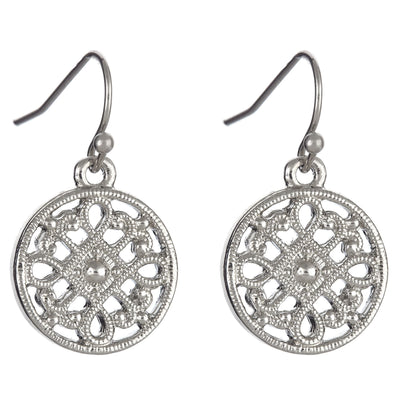 Filigree Coin Earrings in silver finish | Modern boho jewelry | Criscara