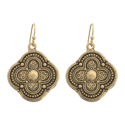 Moroccan Quatrefoil Earrings in 14k gold finish | Modern boho jewelry | Criscara
