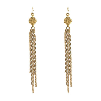 Long Fringe Bali Earrings in 14k gold finish | Modern boho jewelry | Criscara