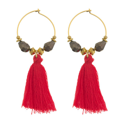 BEACHCOMBER Hoop Tassel Earrings