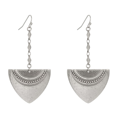 Bolo Shield Earrings in silver finish | Modern boho jewelry | Criscara