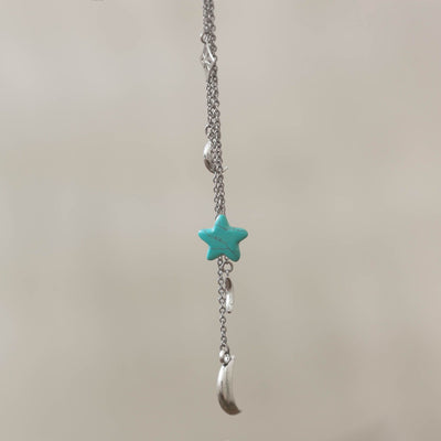 Star And Moon Gemstone Dreamcatcher in silver plated finish with Turquoise gemstone | Modern boho jewelry | Criscara