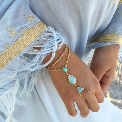 GYPSY SOUL Hand Chain - gold + howlite