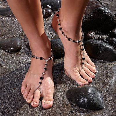 ANAHITA Beaded Barefoot Sandals | Black as Night | Modern boho jewelry | Criscara