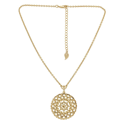 Filigree Coin Pendant Necklace in 14k gold finish | Modern boho jewelry | Criscara