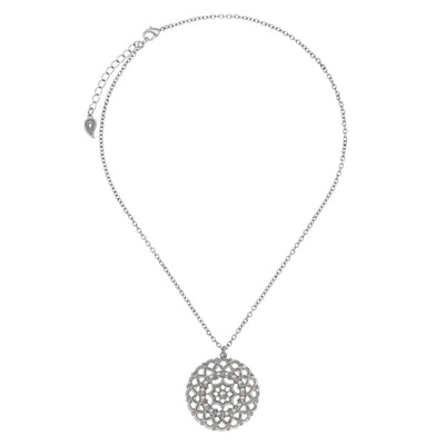 Filigree Coin Pendant Necklace in silver finish | Modern boho jewelry | Criscara