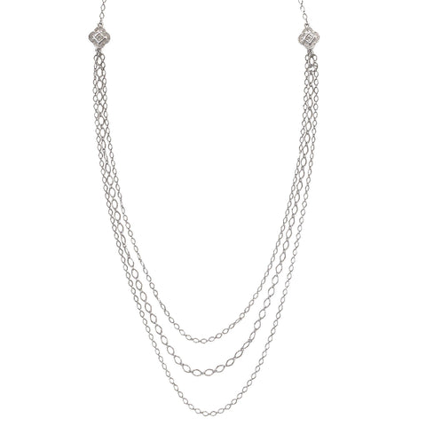 Multi Strand Layered Necklace in silver finish | Modern boho jewelry | Criscara