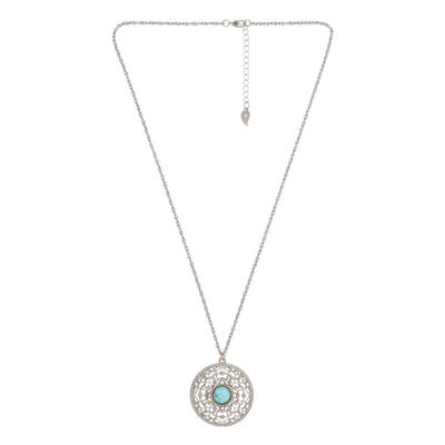 CASBAH Pendant Necklace - Silver + Turquoise | Modern boho jewelry | Criscara