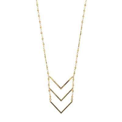 Chevron Ladder Necklace in 14k gold finish | Modern boho jewelry | Criscara