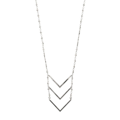 Chevron Ladder Necklace in silver finish | Modern boho jewelry | Criscara