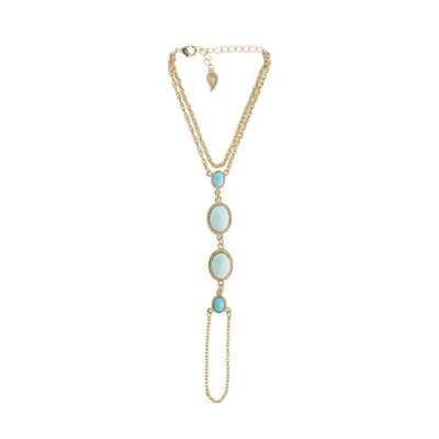 Gypsy Soul Foot Chain in 14k gold finish with Turquoise gemstone | Modern boho jewelry | Criscara