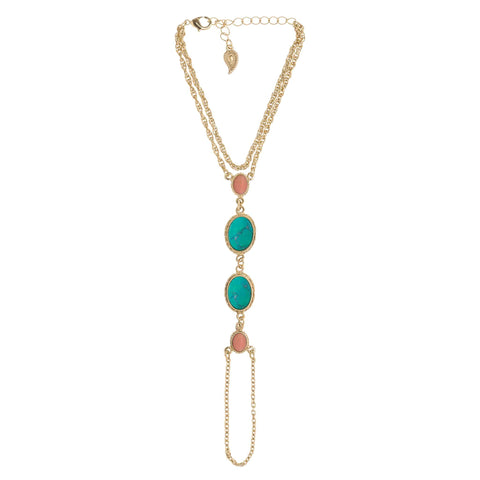GYPSY SOUL Foot Chain - gold + turquoise & coral