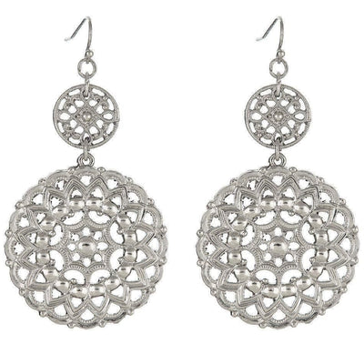 Statement Filigree Earrings in silver finish | Modern boho jewelry | Criscara