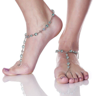 ANAHITA Beaded Barefoot Sandals | Caribbean Blue | Modern boho jewelry | Criscara
