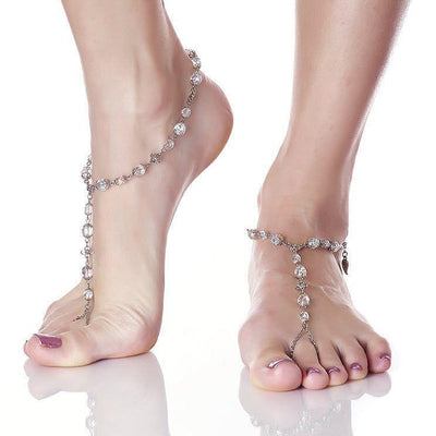 ANAHITA Beaded Barefoot Sandals | White Wedding | Modern boho jewelry | Criscara