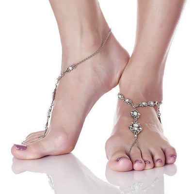 Art Deco Foot Jewelry in silver finish with Opalite Swarovski crystal sold as right | Modern boho jewelry | Criscara