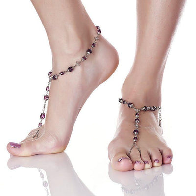 ANAHITA Beaded Barefoot Sandals | Temptress Purple | Modern boho jewelry | Criscara