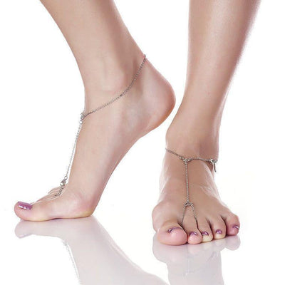 Dainty Anklet Toe Ring in silver finish sold as pair | Modern boho jewelry | Criscara