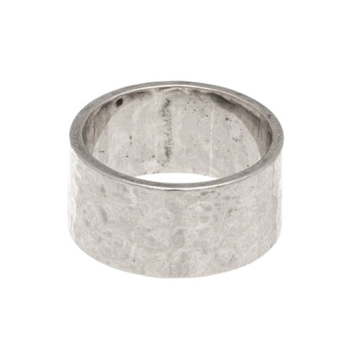 Wide Hammered Band Ring in silver finish size 4 | Modern boho jewelry | Criscara