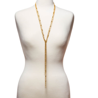 Multi Strand Lariat Wrap Necklace in 14k gold finish | Modern boho jewelry | Criscara