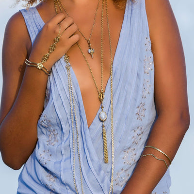Long Gemstone Fringe Necklace in 14k gold finish with Blue Lace Agate gemstone | Modern boho jewelry | Criscara