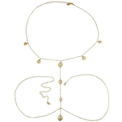 Boho Chic Body Chain in 14k gold finish | Modern boho jewelry | Criscara
