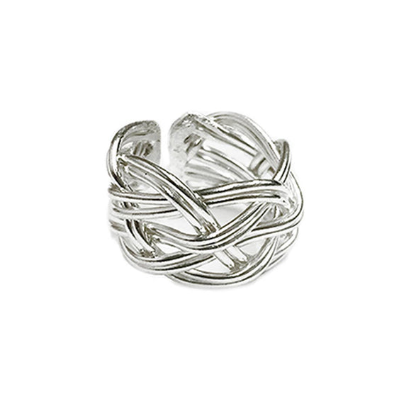 Silver Plated Adjustable Ring - Wide Braid