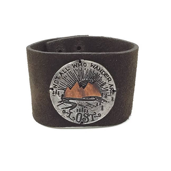 Leather Snap Bracelet - Not All Who Wander Are Lost