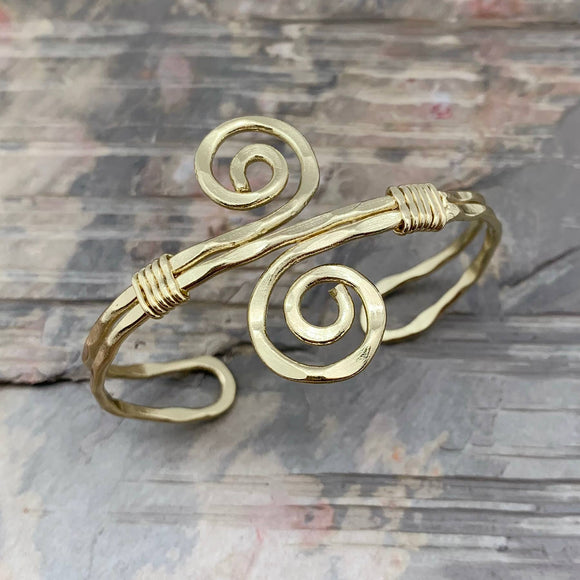 Gold Plated Adjustable Cuff Bracelet - Narrow S Spiral
