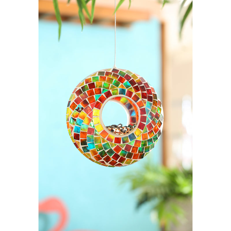 "9.25""D Acrylic Circle Feeder, Rainbow Mosaic Glass"