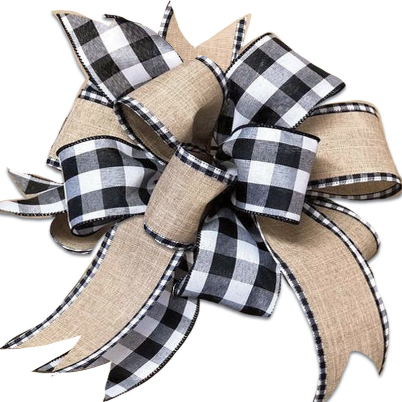 Evergreen Flag Beautiful Springtime Black and White Plaid Door Tag Bow Hanging Door Decor - 18 x 13 Inches Fade and Weather Resistant Outdoor Decoration For Homes, Yards and Gardens