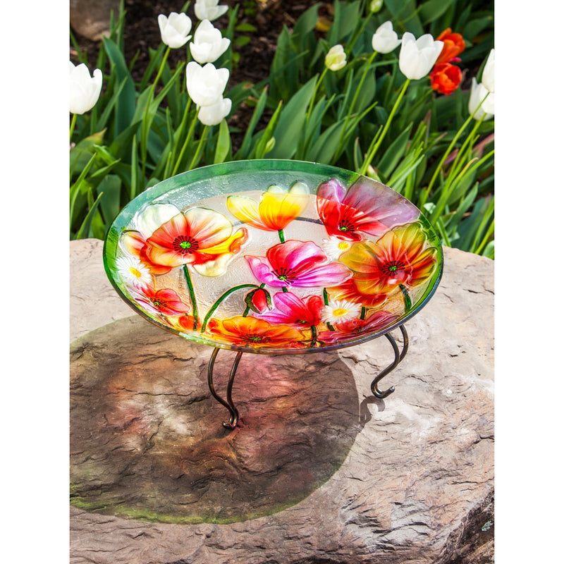 "Evergreen Poppies 18"" Glass Birdbath, 18'' x 2.5'' x 18''"