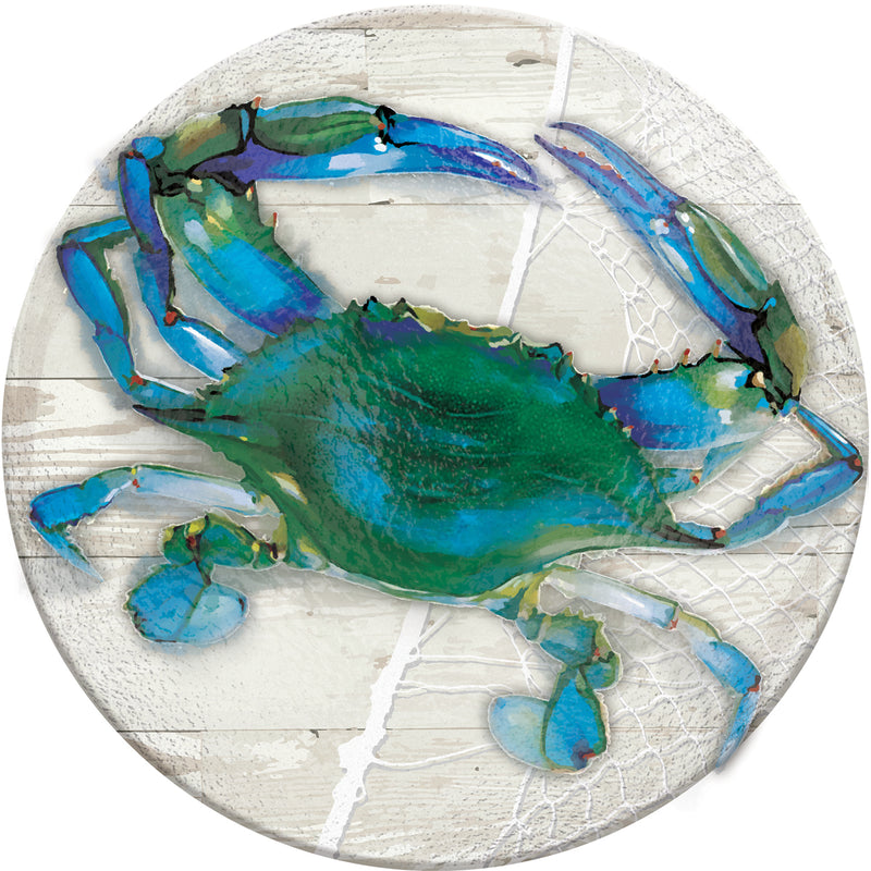 "Evergreen 18"" Hand Painted Embossed Glass Bird Bath, Blue Crab, 18'' x 18'' x 2''"