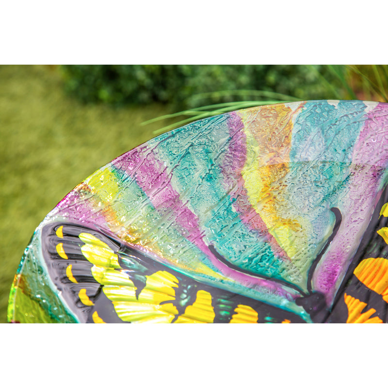 "Evergreen 18"" Hand Painted Glass Bird Bath with Oil Paint Finish, Butterfly, 18'' x 18'' x 2''"