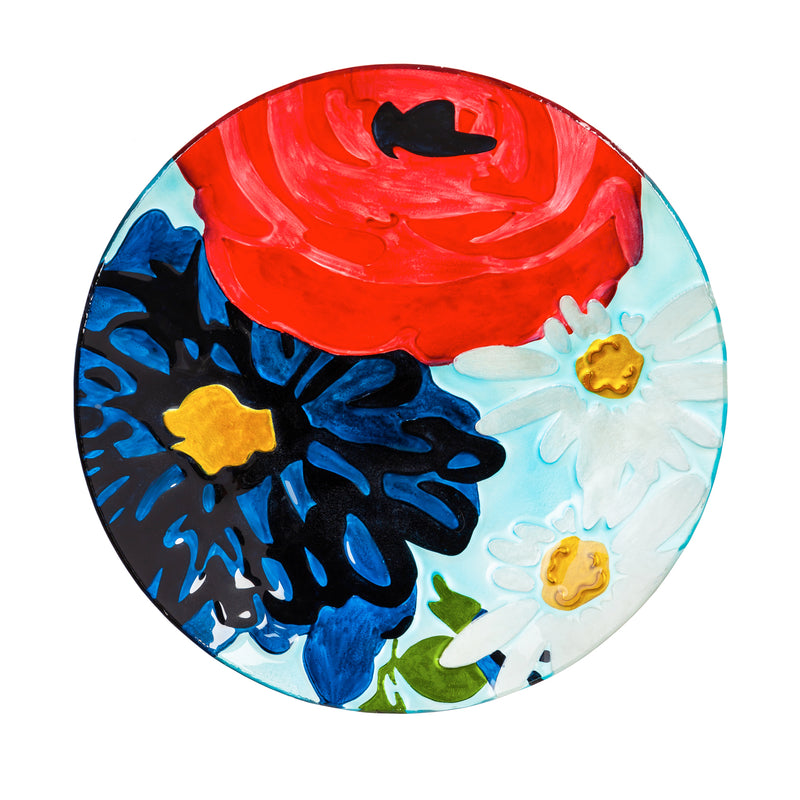 "Evergreen 18"" Hand Painted Embossed Glass Bird Bath, Red/White/Blue Florals, 18.1'' x 18.1'' x 1.6''"