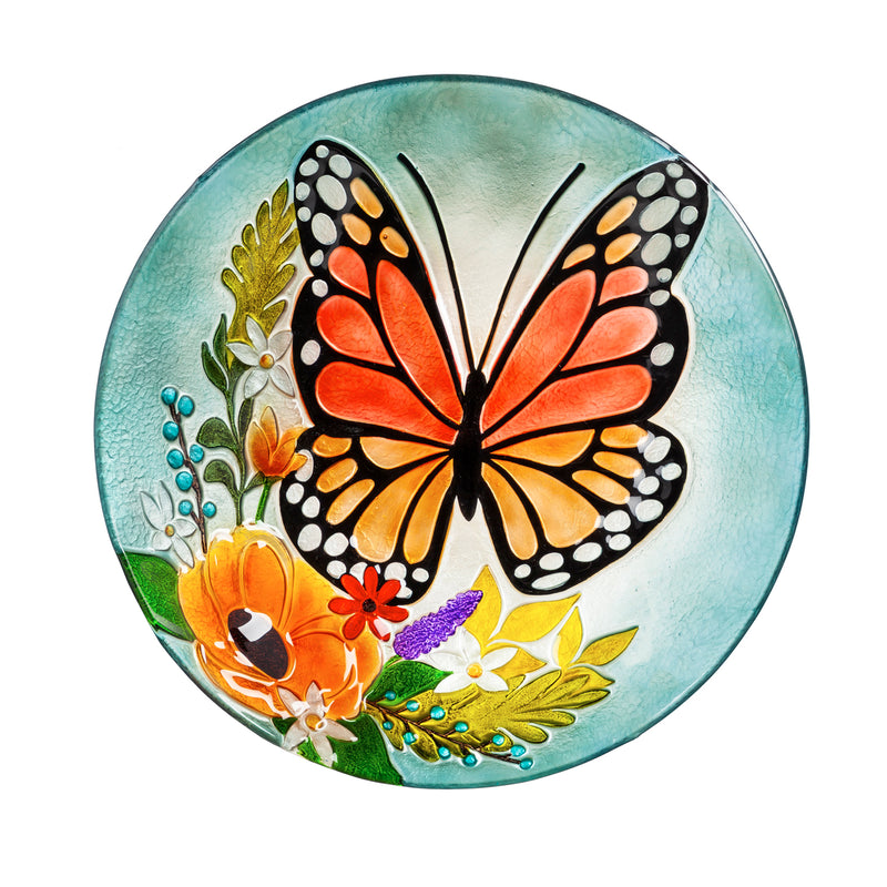 "Evergreen 18"" Hand Painted Embossed  Glass Bird Bath, Florals and Monarch Butterfly, 18.1'' x 18.1'' x 1.6''"